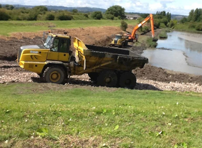 Work being carried out for flood water storage lagoon on the Wentlooge levels