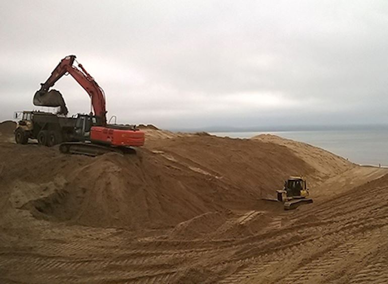 Work that is being carried out at Newborough's sand dunes