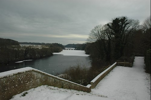 View of the icy river at Stackpole - credit Mike May National Trust