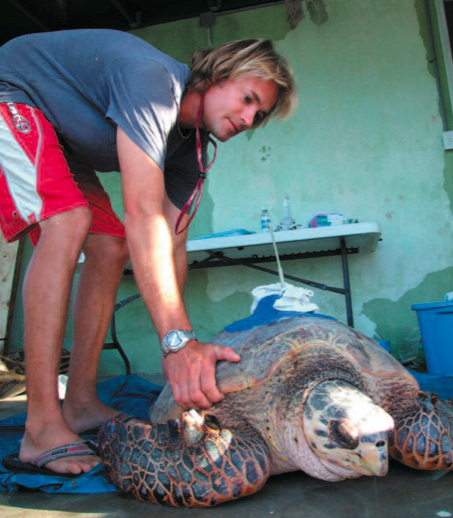 Tom with a sea turtle