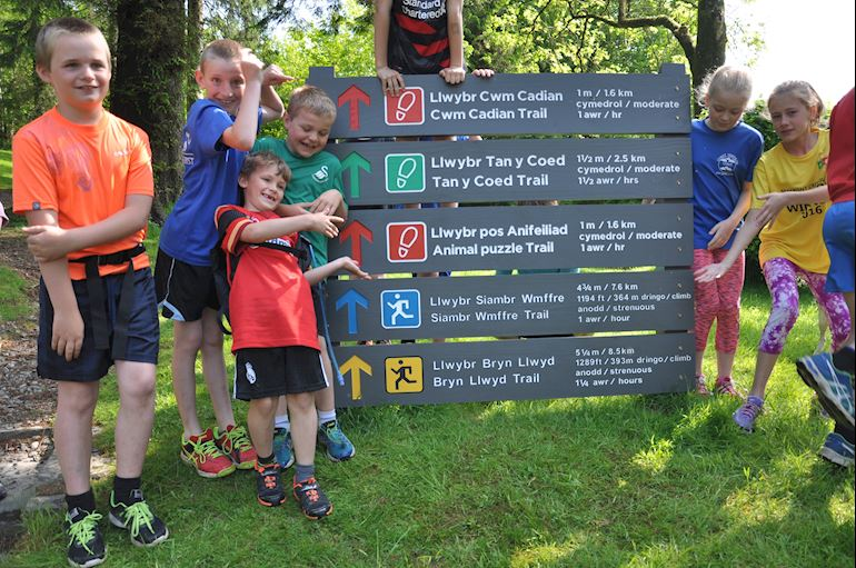 Local children open new running trails in the Dyfi forest