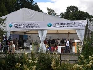Natural Resources Wales white stand at the Royal Welsh show