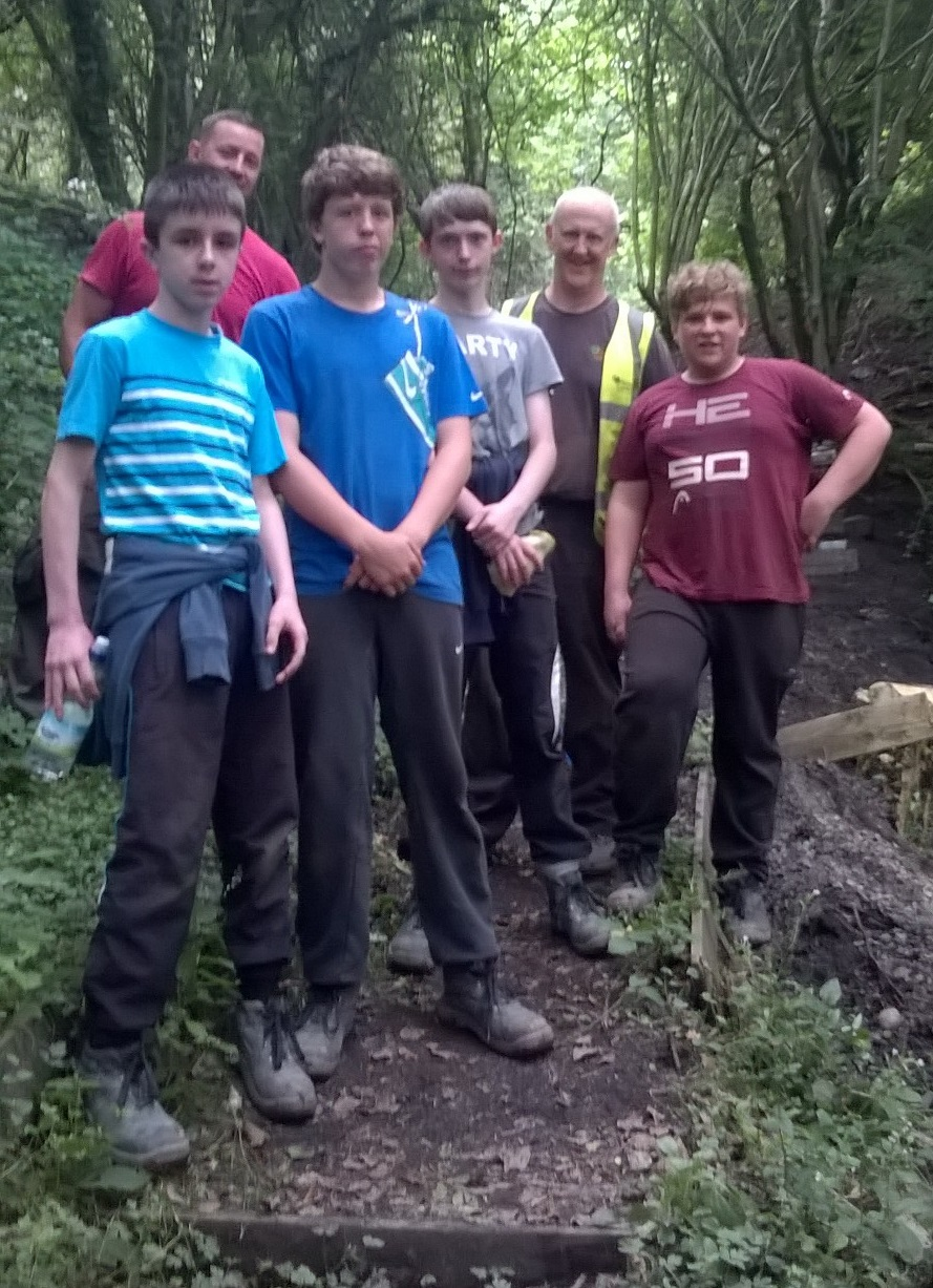 Group of young people on work experience at Llynfi