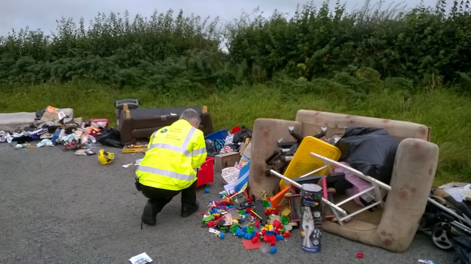 NRW staff invesigating fly tipping mess