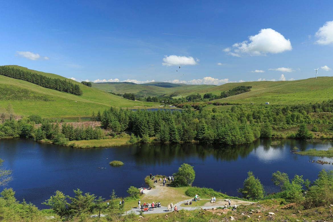 View of the lake at Bwlch Nant yr Arian Forest