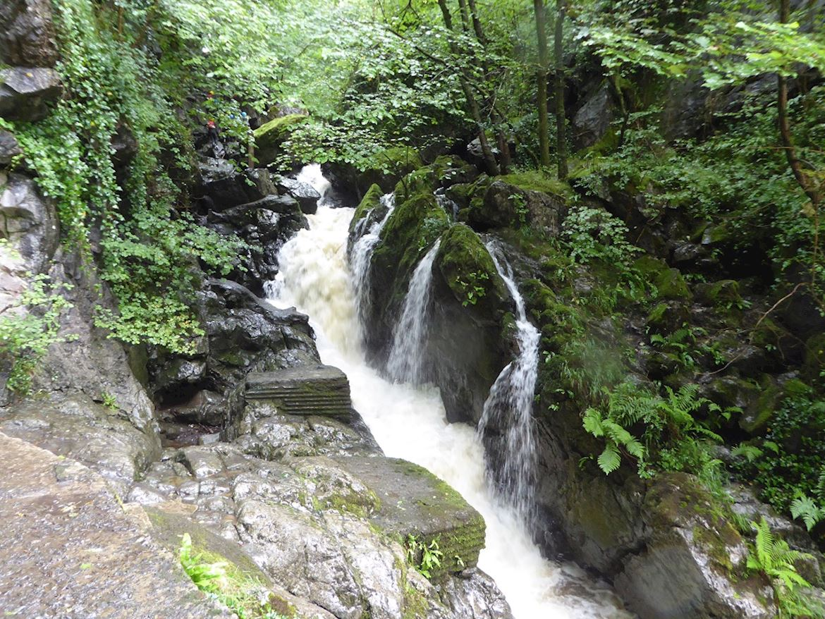 View of a waterfall at Dinas Rock, near Neath
